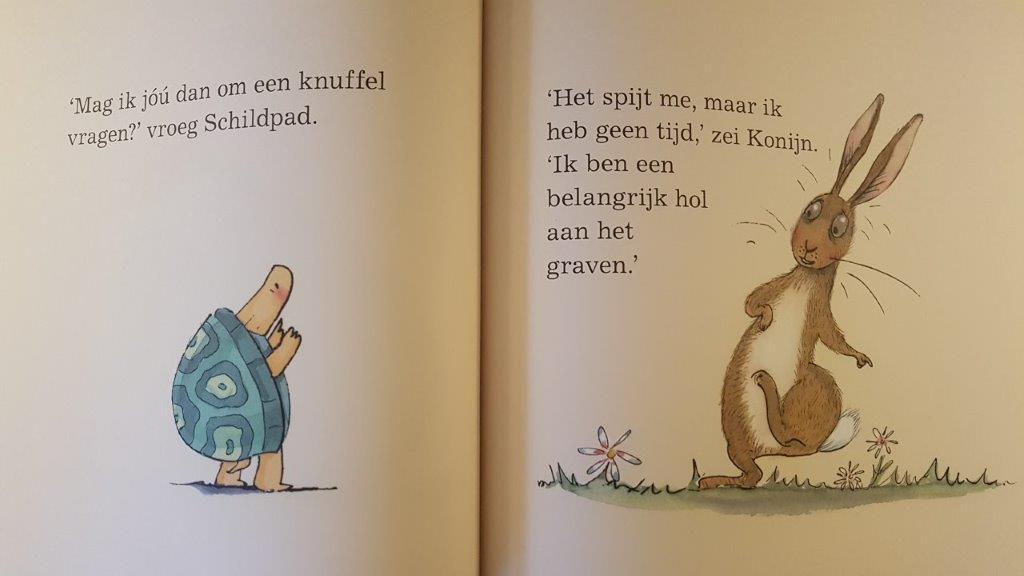 Knuffel boek met schildpad en konijn