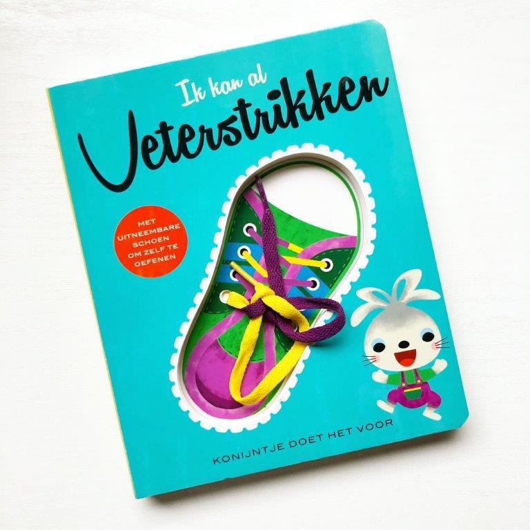 ik kan al veterstrikken konijntje doet het voor. oefenboek met echte veters en uitneembare schoen.