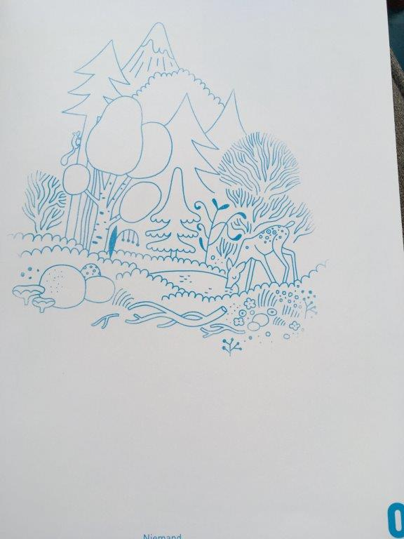 iedereen telt blauw witte tekening met dieren en bomen