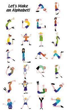 yoga letters alfabet opdrachten voor het boek van Charlotte Dematons