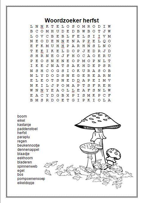 woordzoeker herfst alfabet opdrachten voor het boek van Charlotte Dematons