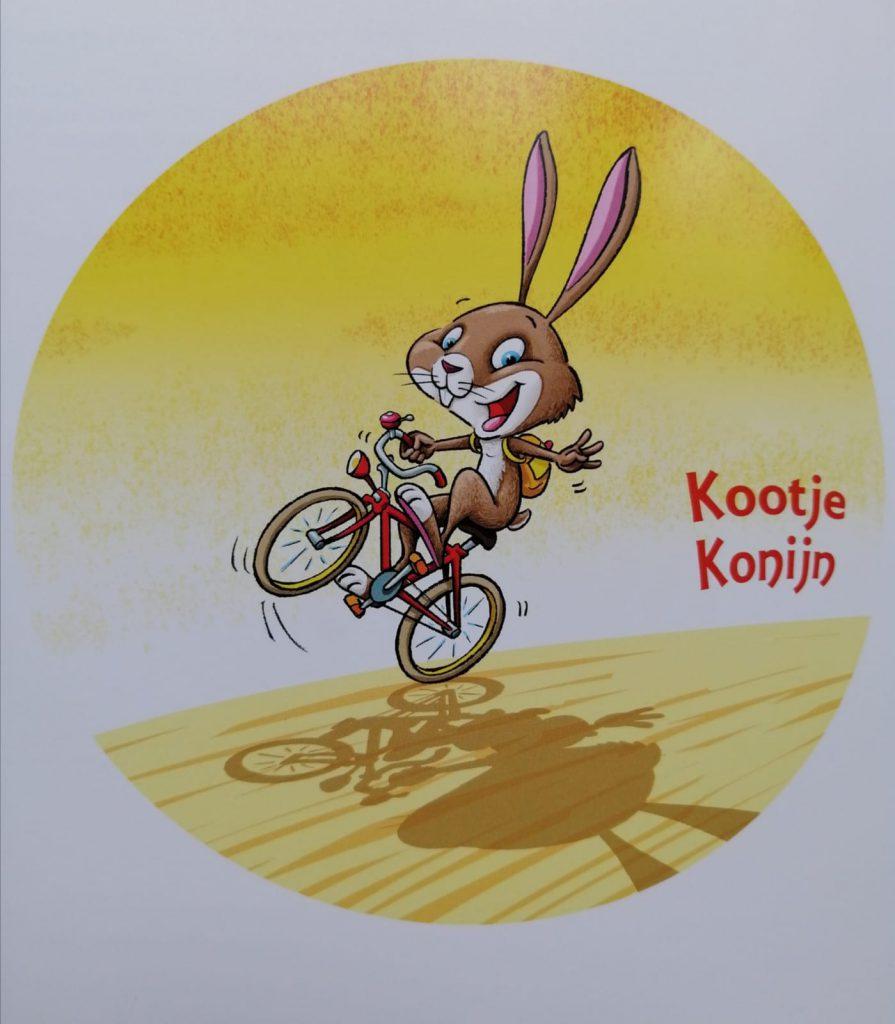 kootje konijn fietst door de stad